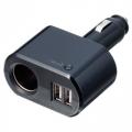 Разветвитель прикуривателя EM-115 на 1 гнездо с двумя USB-портами