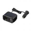 Разветвитель прикуривателя с удлинителем EM-128 на 1 гнездо с двумя USB-портами