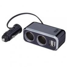 Разветвитель прикуривателя с удлинителем FIZZ-968 на 2 гнезда с двумя USB-портами