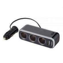 Разветвитель прикуривателя с удлинителем FIZZ-992 на 3 гнезда с двумя USB-портами