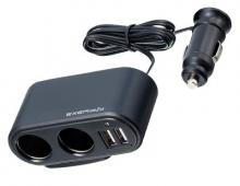 Разветвитель прикуривателя с удлинителем EM-110 на 2 гнезда с двумя USB-портами