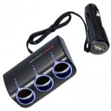 Разветвитель прикуривателя с удлинителем EM-114 на 3 гнезда с USB-портом