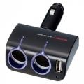 Разветвитель прикуривателя EM-111 на 2 гнезда с USB-портом